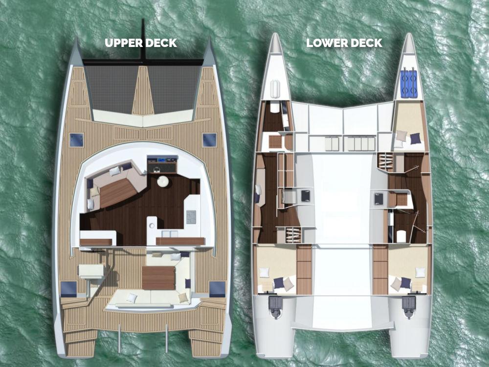 Illustrated Upper and Lower Deck Plans of the Cape Bretoner 1 catamaran